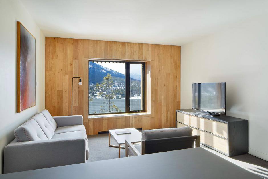 A spacious suite at Lloyd Hall Hotel located at Banff Centre