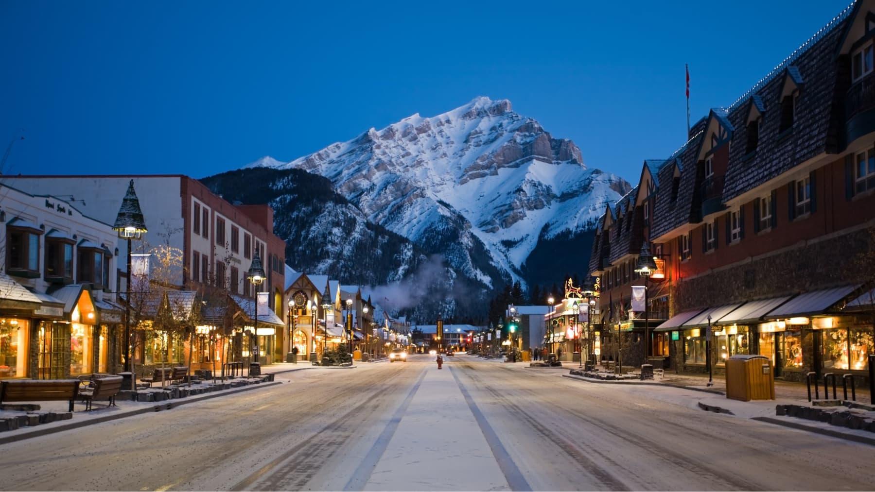 View towards Cascade Mountain from Banff avenue