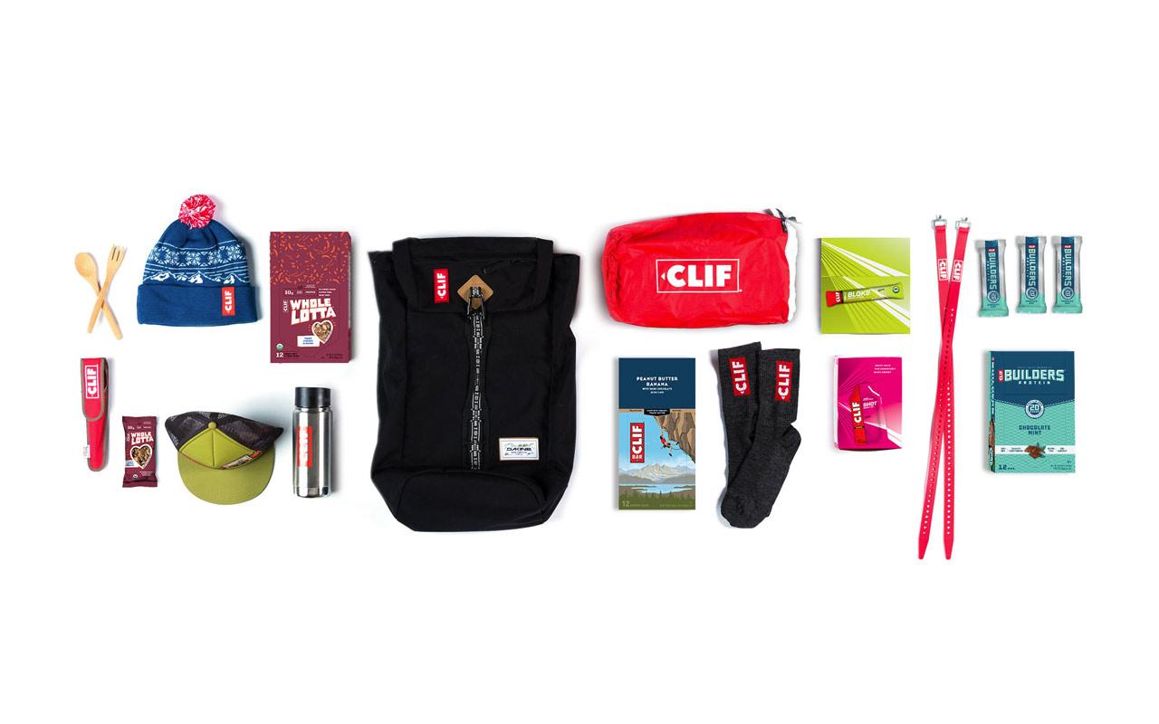 Neatly organized Clif Bar items.