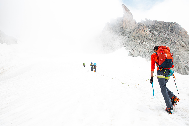 Julian Bueckers climbing up a glacier in Chamonix France