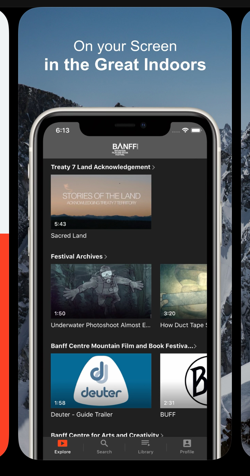 Festival App browse page on a mobile device.