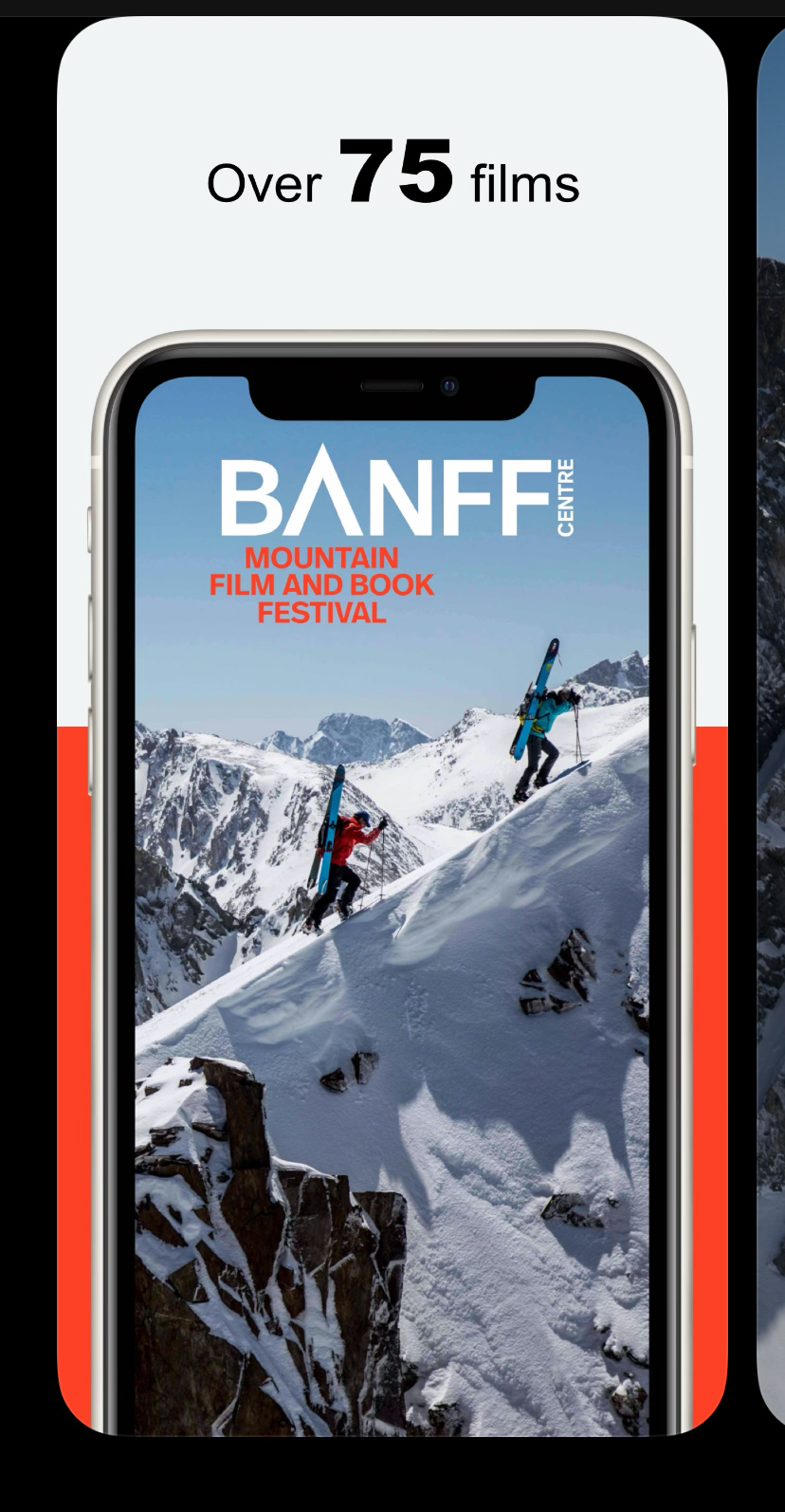 The Banff Mountain Festival App displaying on an iphone.