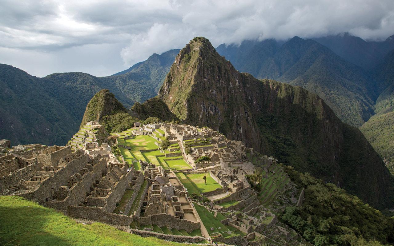 Landscape shot of the Machu Pichu in peru.