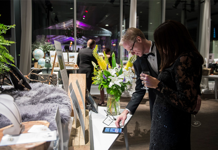 Guests bid on auction items at the Midsummer Ball.