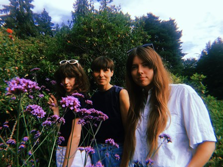 Three female band members stand in front of a hedge with flowers in front of them,