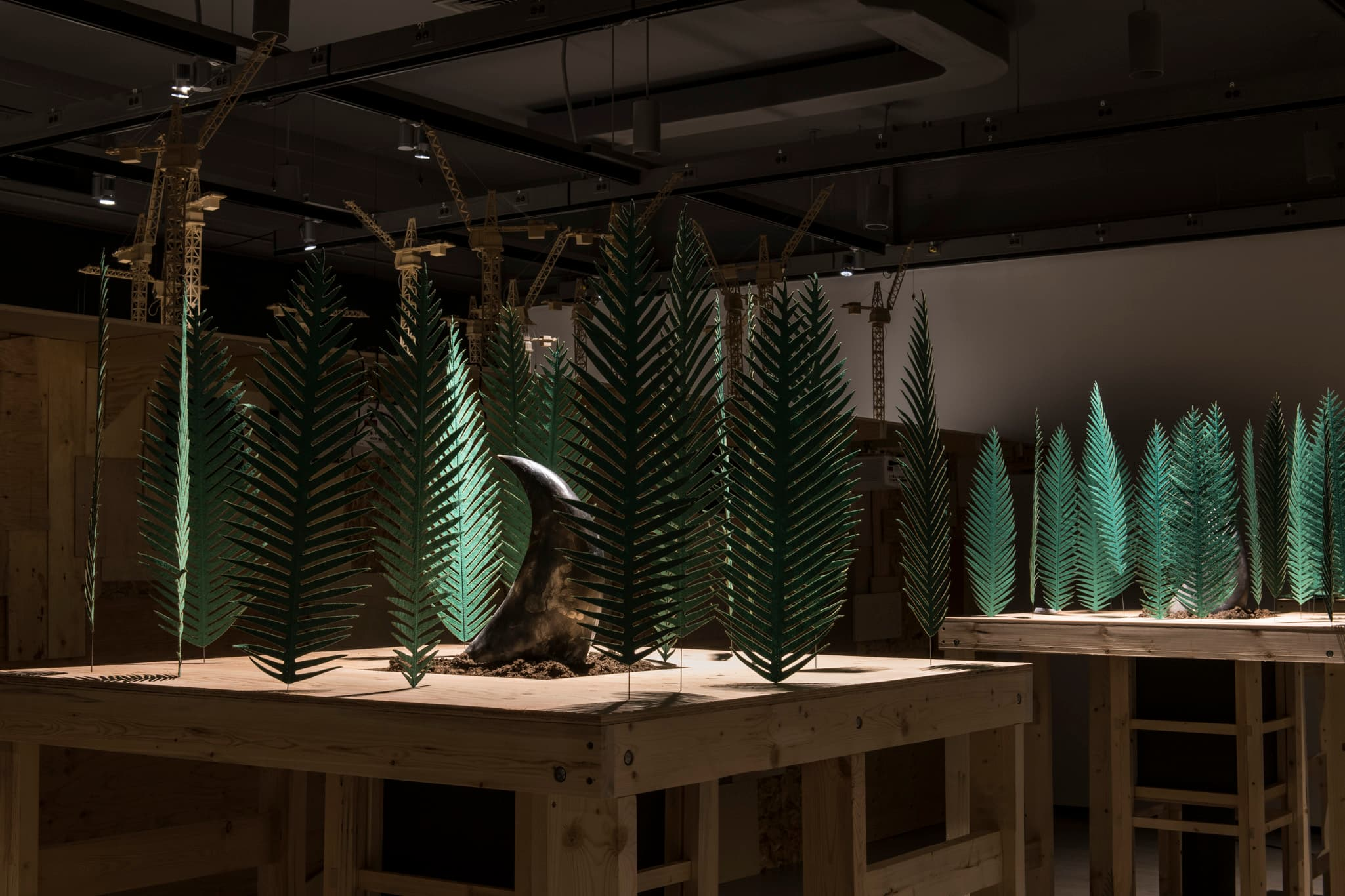 Installation view of Rita McKeoughs exhibition with green ferns