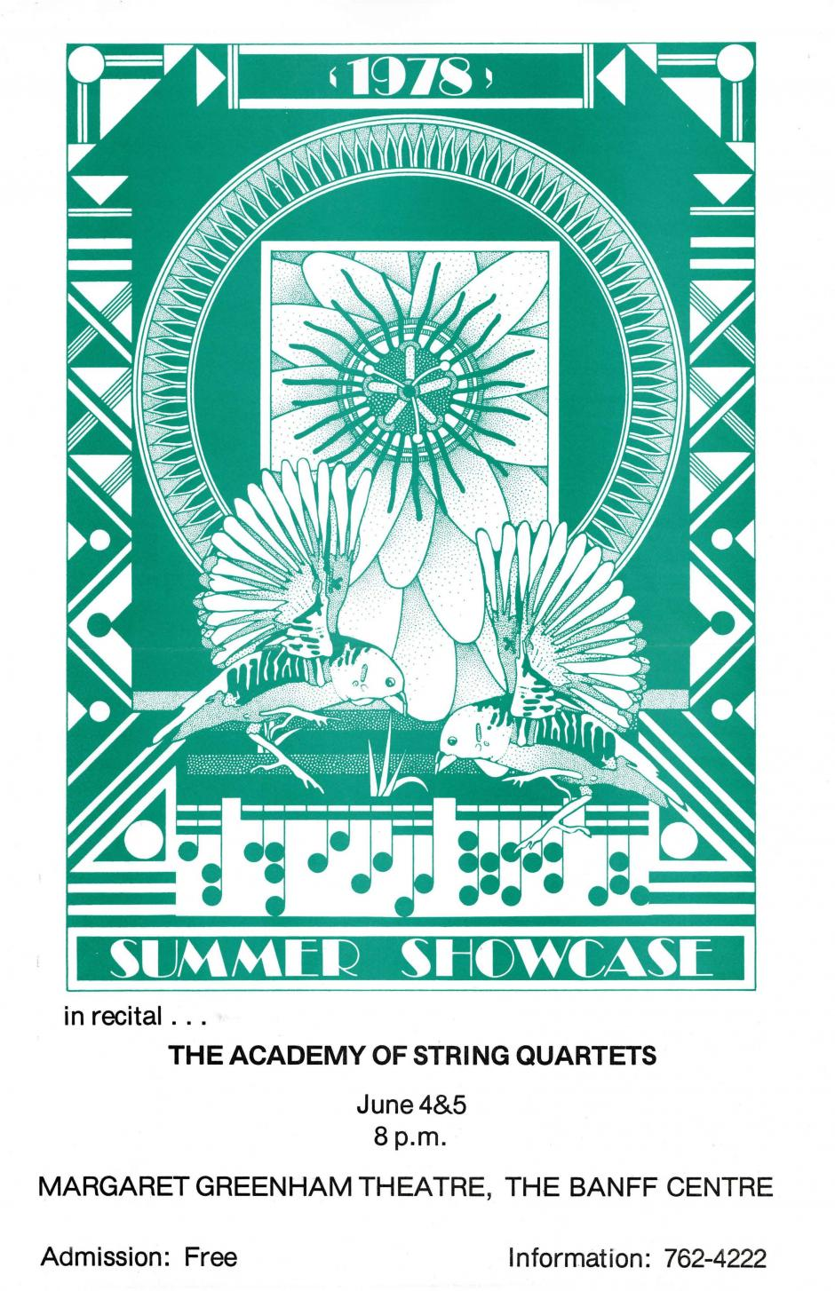 A poster for The Academy of String Quartets Summer Showcase featuring geometric shapes and birds