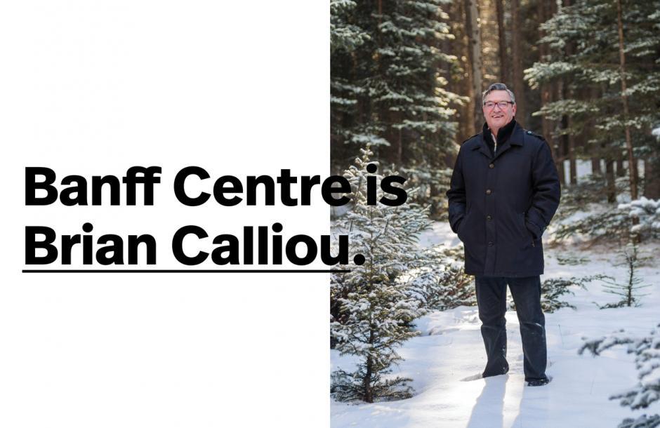 Brian Calliou full portrait in a winter forest.