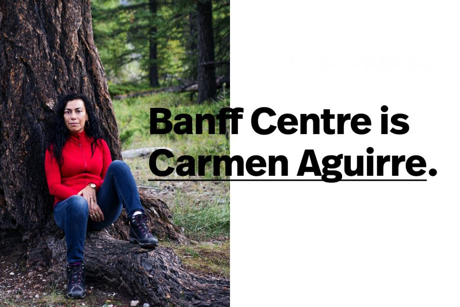 Carmen Aguirre with text overlaying the image.