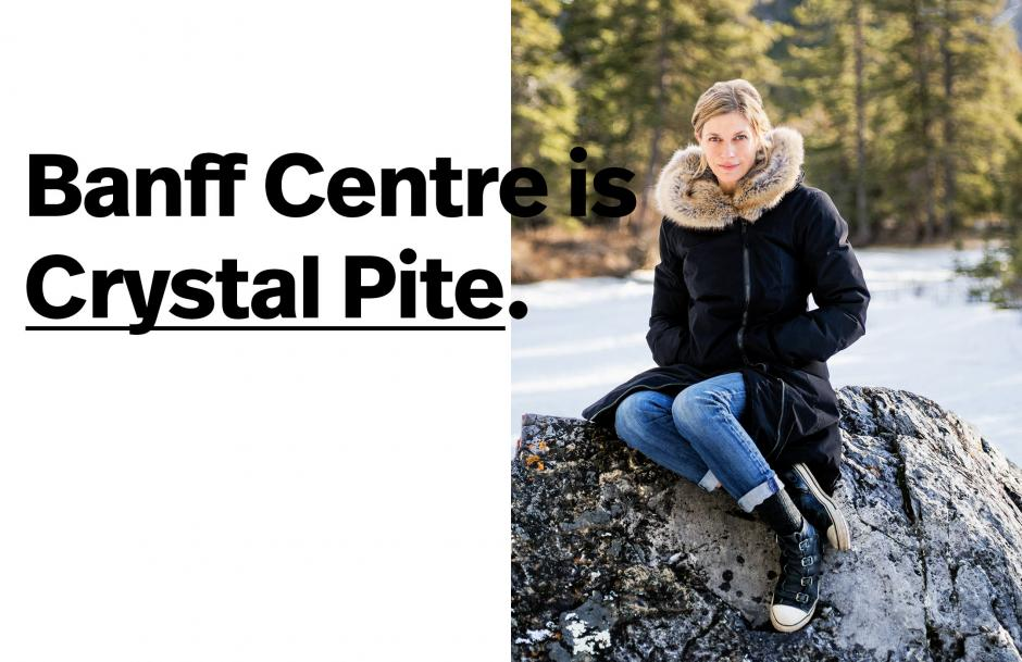 Crystal Pite sitting on a rock with text overlay.