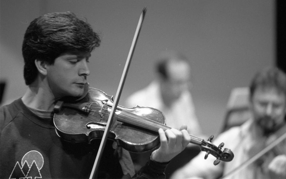 Young violinist Barry Shiffman rehearsing at Banff Centre.
