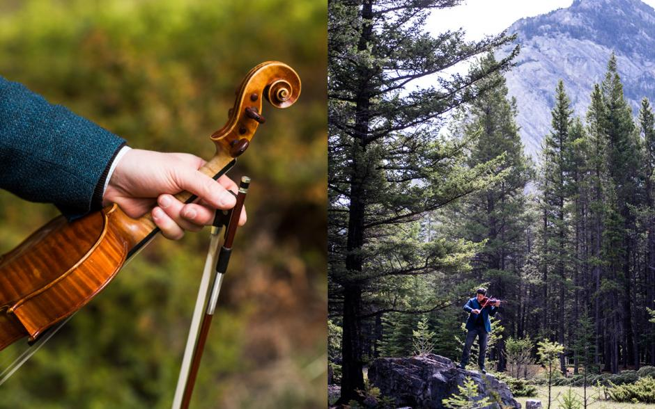 Musician Barry Shiffman with his violin in nature.