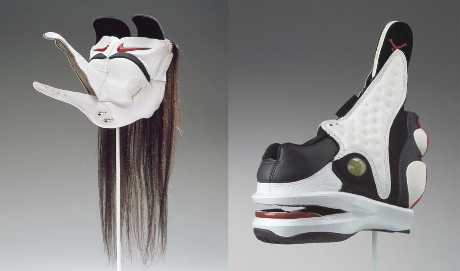 An indigenous visual art display composed of Air Jordan sneakers.