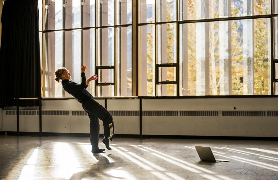 Crystal dancing in a sunny studio.