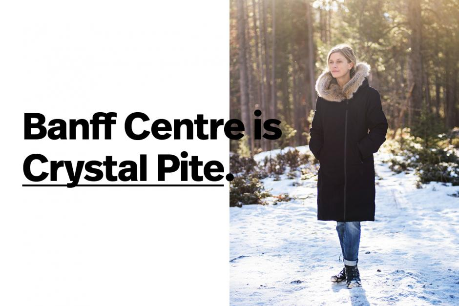 Artist profile header featuring Crystal Pite with text overlap.