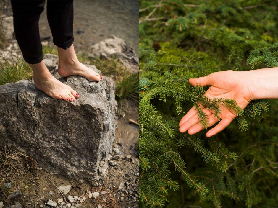 Various shots of Emily Molnar interacting with the forest floor. Walking barefoot and touching the spruce trees.