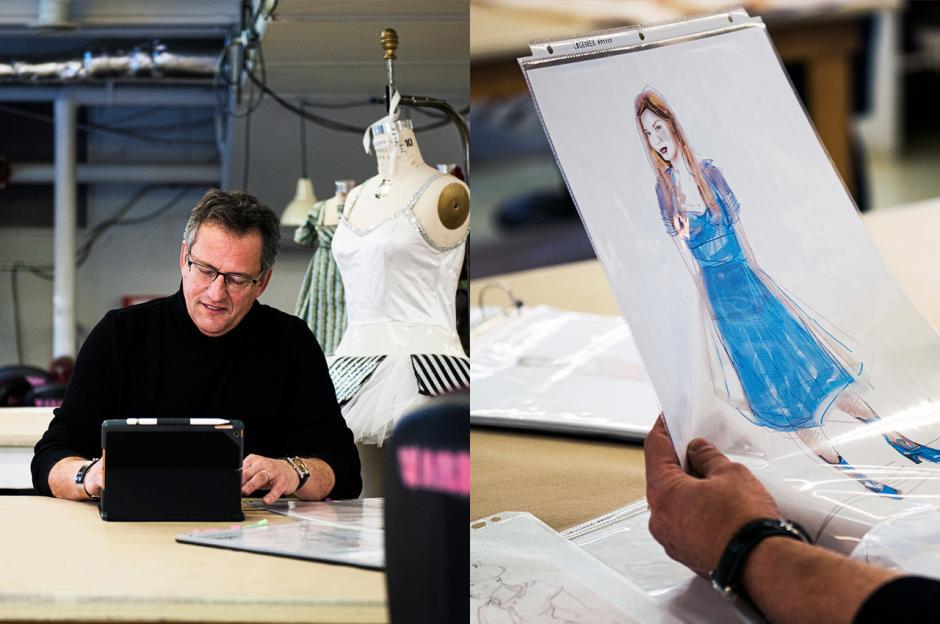 Jean Grand-Maître sketches costume design.