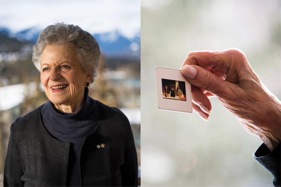 Banff Centre donor looking at an old photo.