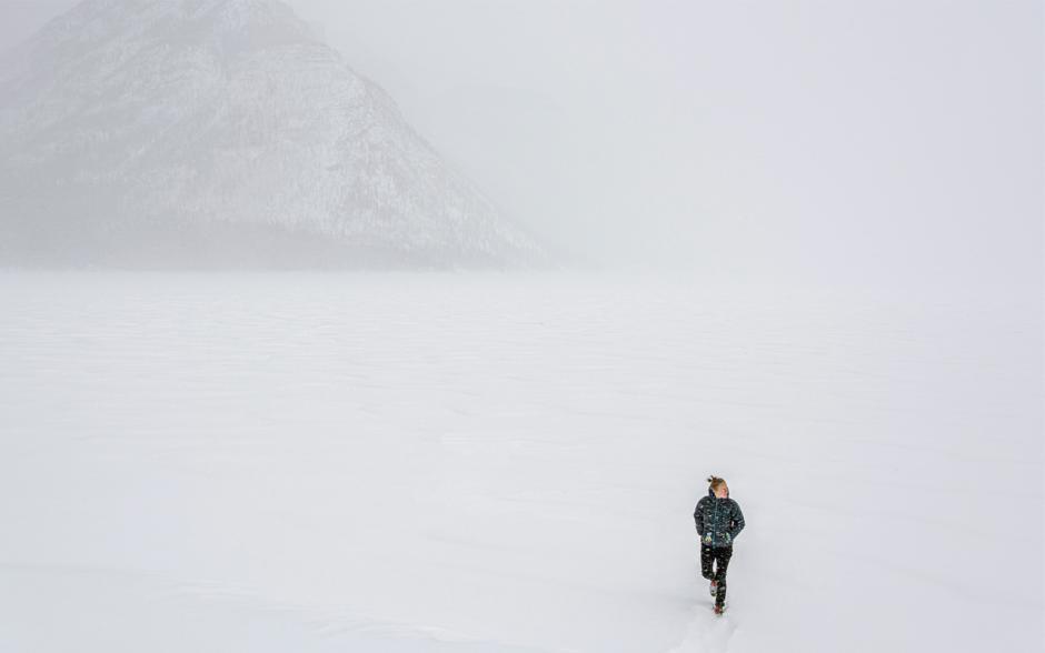 Kate Harris wanders through a snowy tundra.