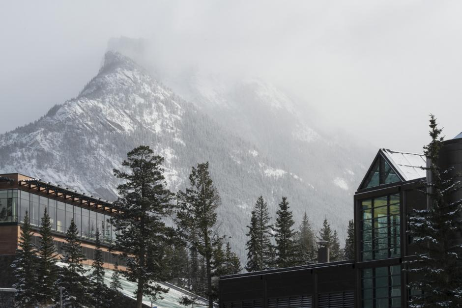 Mount Rundle in the Background over Banff Centre Campus Buildings