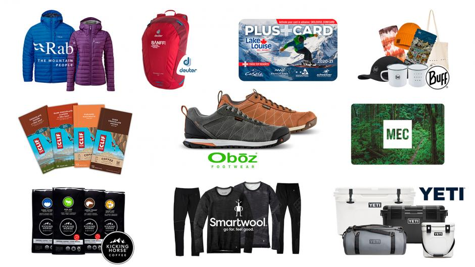 A grid layout of prizes including jackets, backpacks, giftcards, apparel, footwear and more!