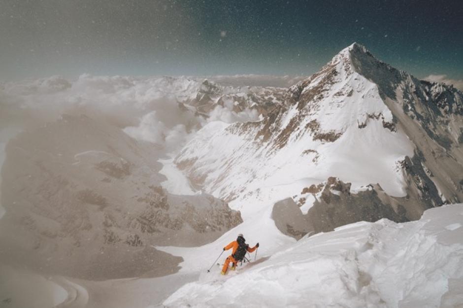 Jim Morrison skiing Lhotse. Photo by Nick Kalisz, The North Face