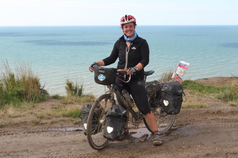 Sarah Outen on her bike Hercules