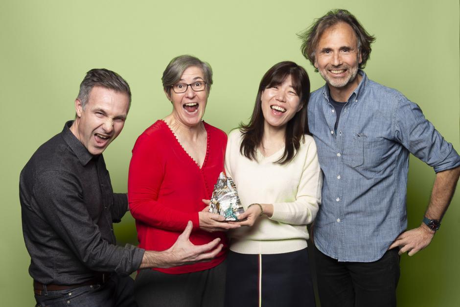 Banff Centre Mountain Film Festival 2019 Jury, Niobe Thompson, Lynn Robinson, Billy Choi, Joachim Hellinger. Photo by Biliana Panic