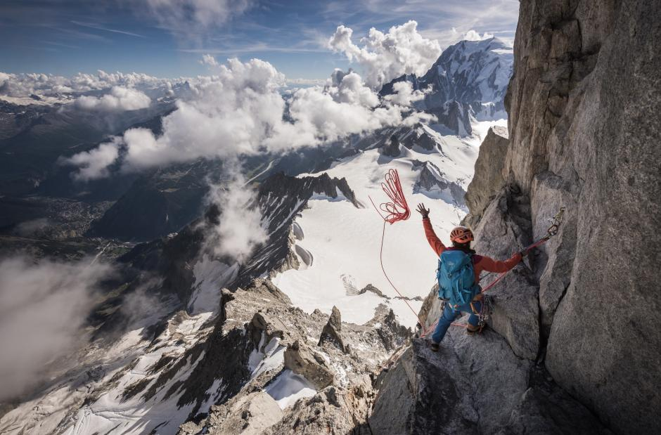 Valentine Fabre on the Dent du Géant © Ben Tibbetts
