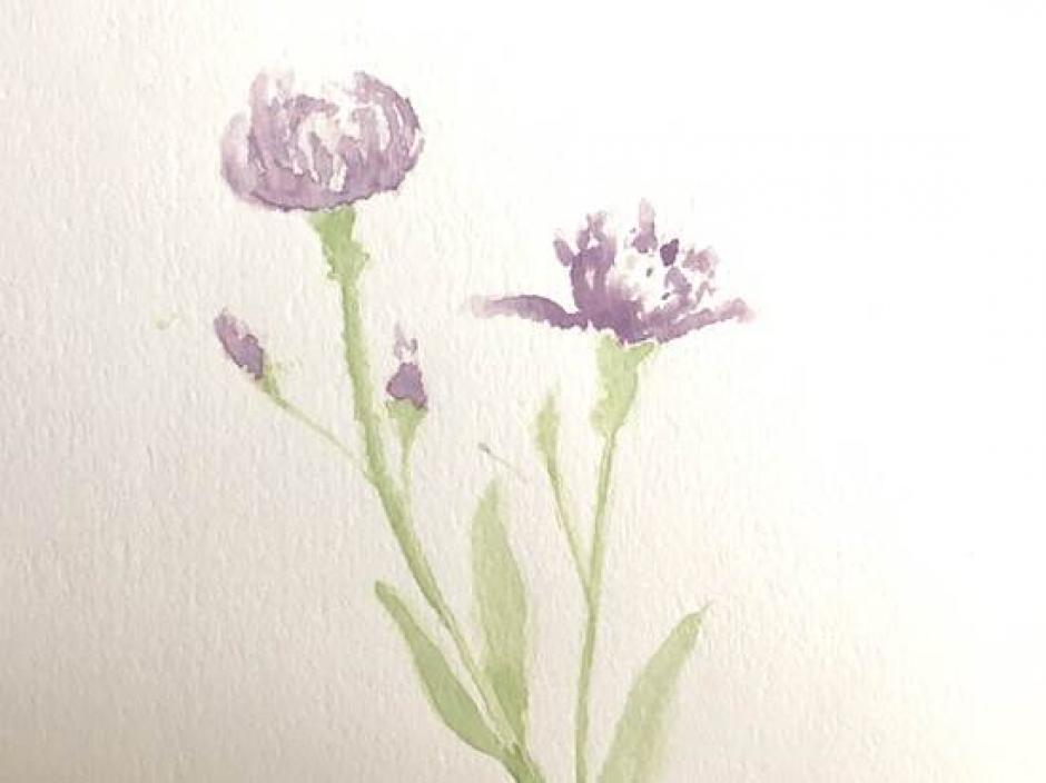 A simple watercolor of two purple flowers with light green stems on a white background