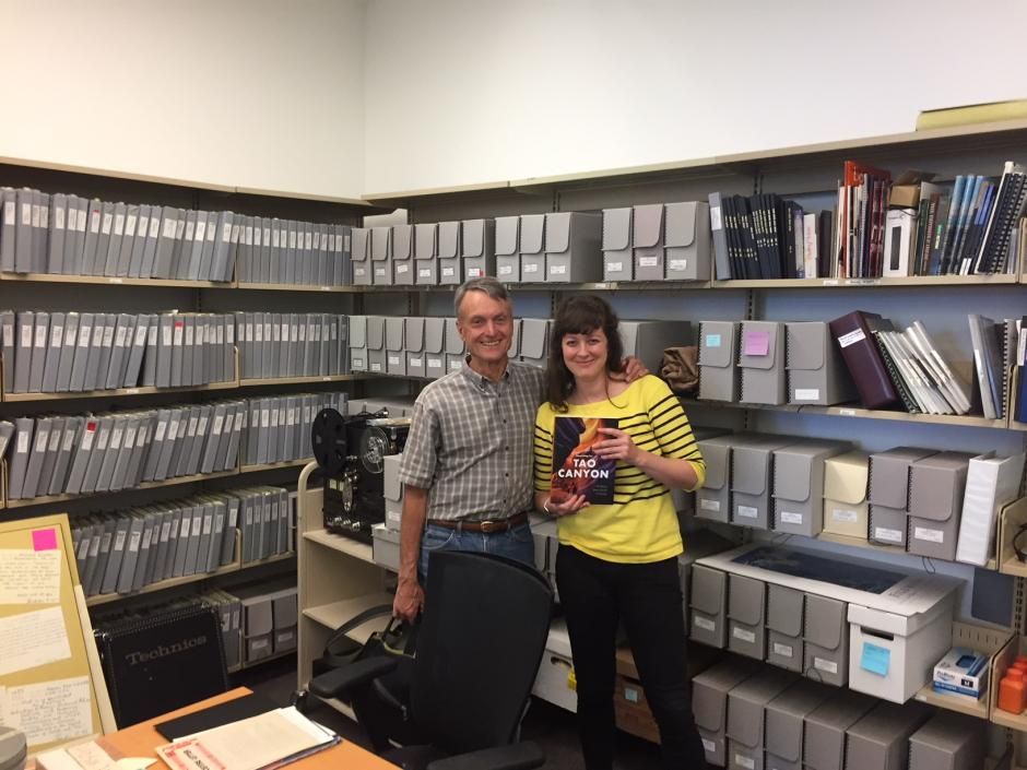 Image of expedition member Pat Morrow and Archives Practicum Abigail Sebaly