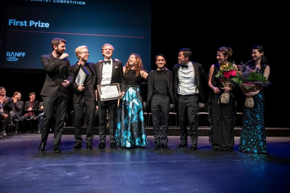 BISQC 2019 Winners Marmen Quartet and Viano Quartet, Photo by Jessica Wittman, Banff Centre for Arts and Creativity
