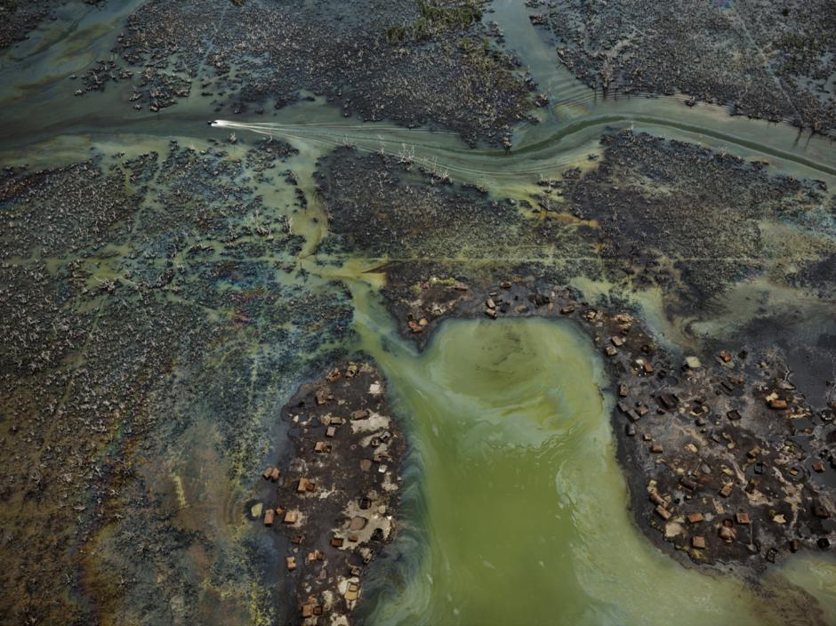 Photograph of a tundra river delta.