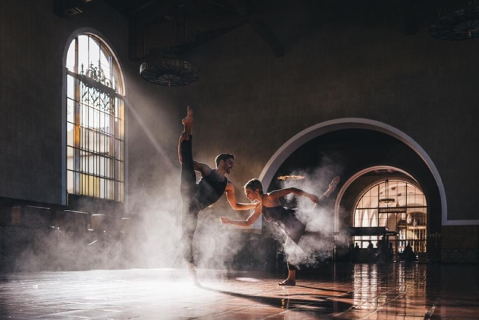 Two dancers perform in a beautiful space, Bodytraffic coming to Banff Centre.