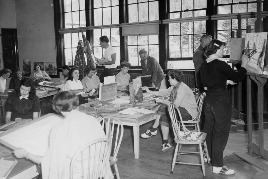 Painting class with William Townsend, 1951, Banff Centre. Paul D. Fleck Library and Archives.