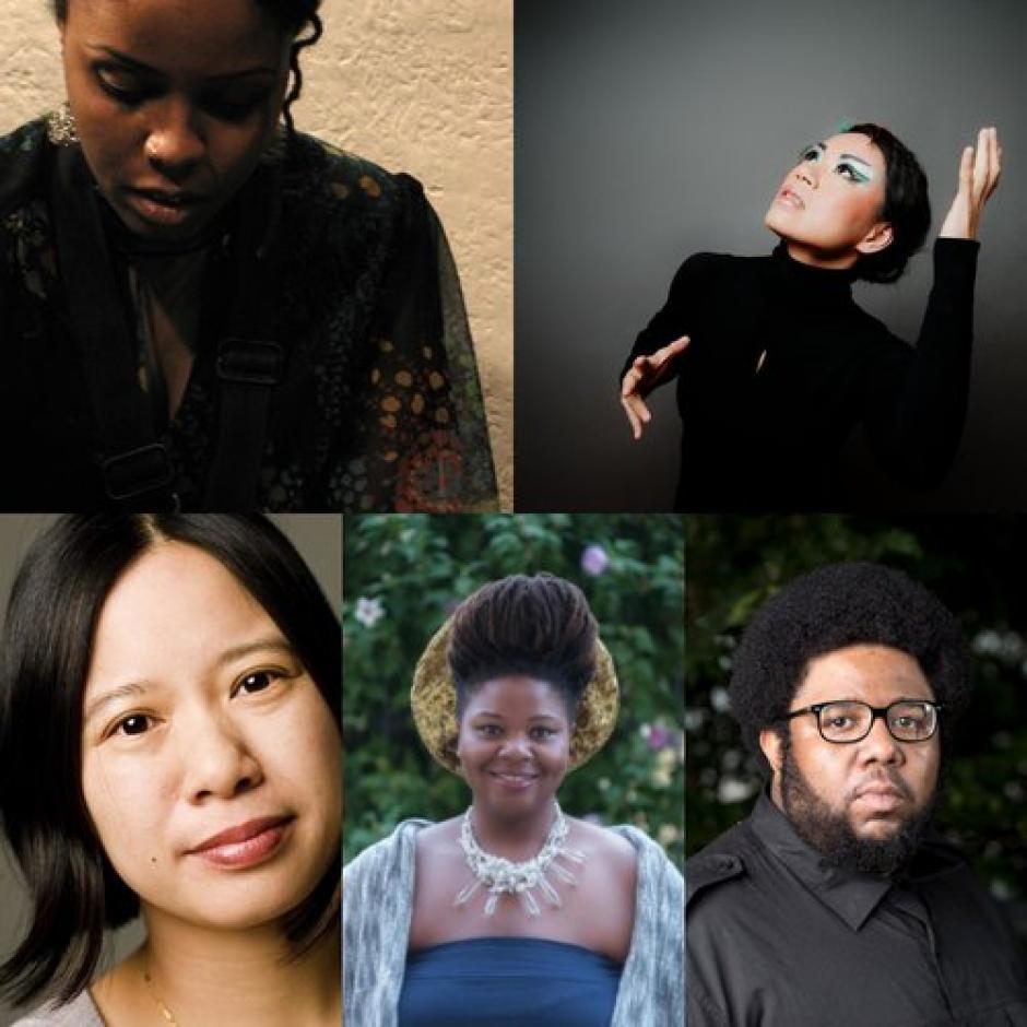 Collage of the Ensemble Evolution faculty featuring Matana Roberts, Liza Lim, Tyshawn Sorey, Lisa Harris, Aiyun Huang.