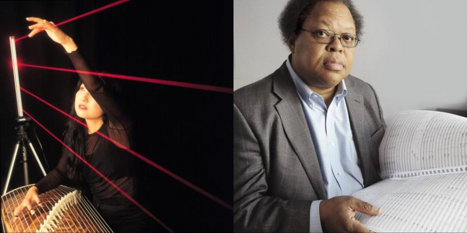 Musicians Miya Masaoka and George Lewis pictured in two separate head-shots.