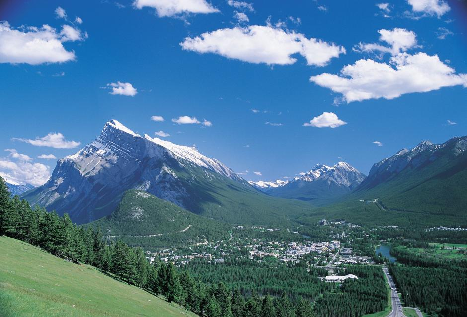 The town of Banff, Rundle, and Spray Valley as seen from Mt. Norquay viewpoint across the valley.