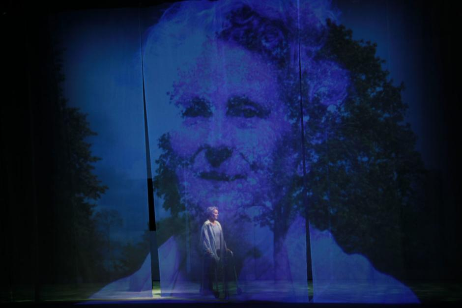 Projection art appears over a stage with an elderly woman pushing a rocker on the stage itself.