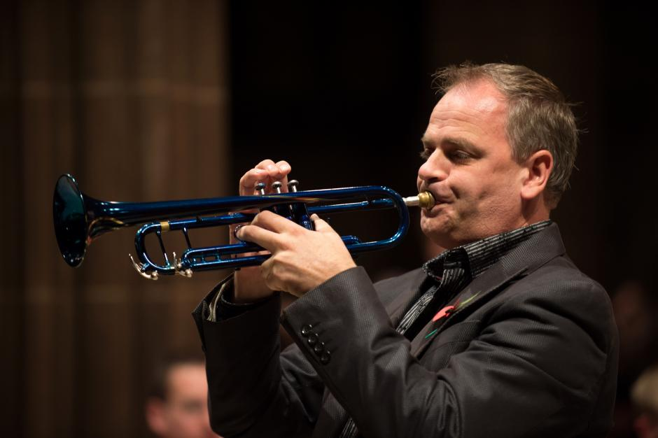 Jens Lindemann plays his metallic Blue custom made and modified Mark 2 trumpet.