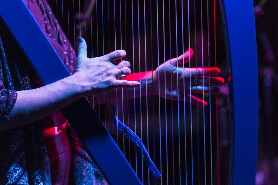 Close-up of hand playing a harp.