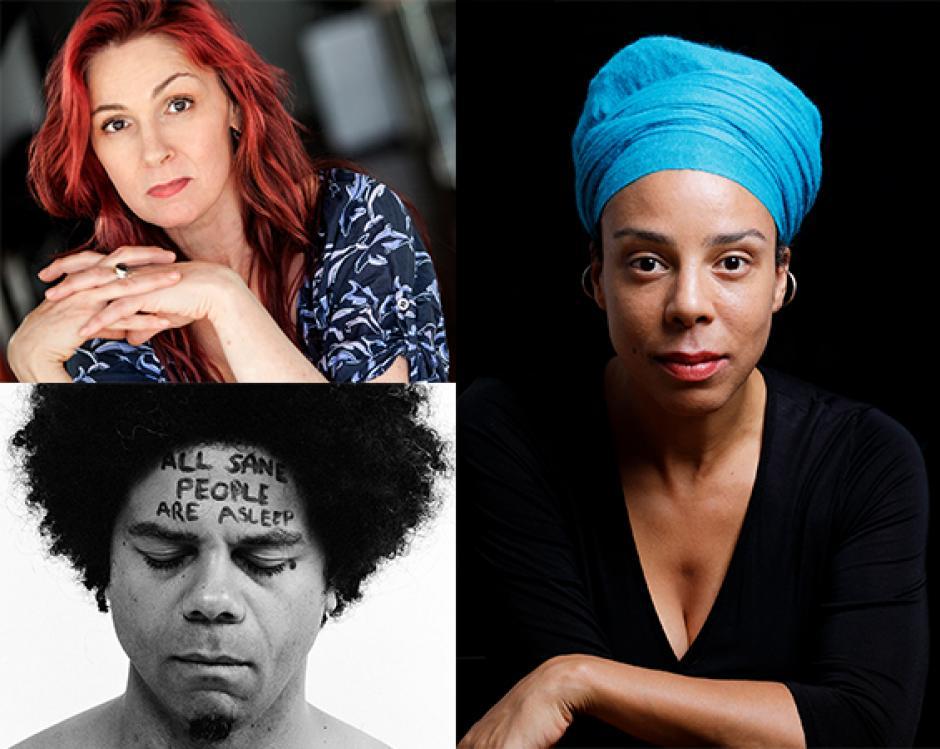 Banff Centre's Spoken Word Faculty 2019; Cat Kidd (TL) Miles Merrill (BL) Tanya Evanson (R)