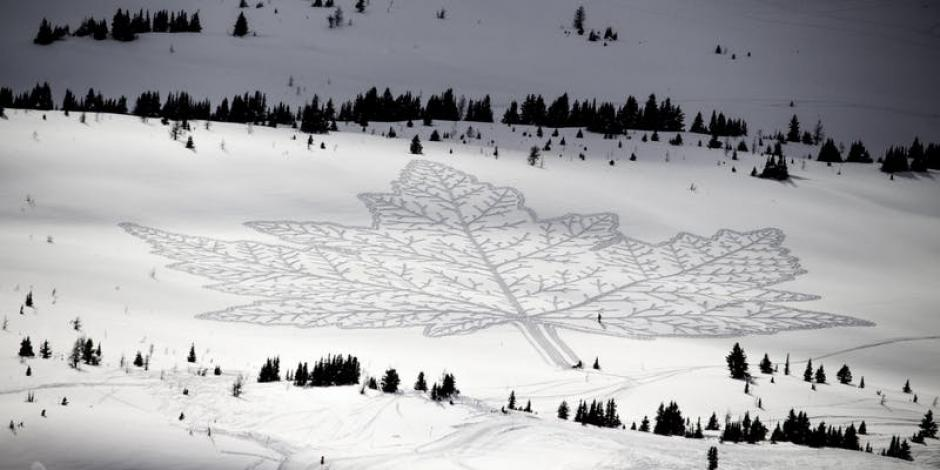 A massive and detailed maple leaf is imprinted into a pristine snowy field, accomplished by a group of people walking through the snow.