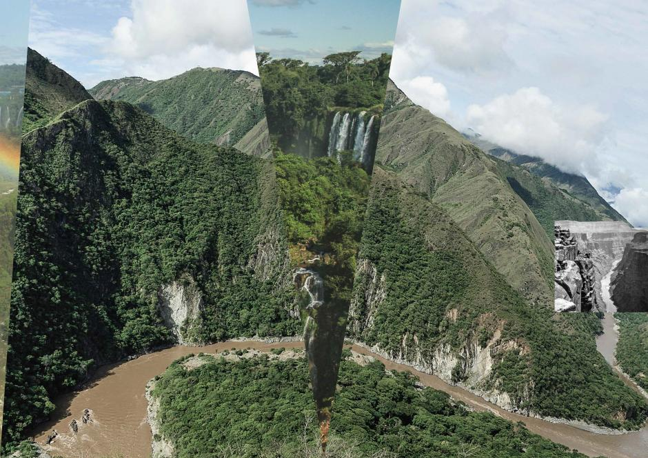 A picture made from splices of photo's joining different rivers on a single course.