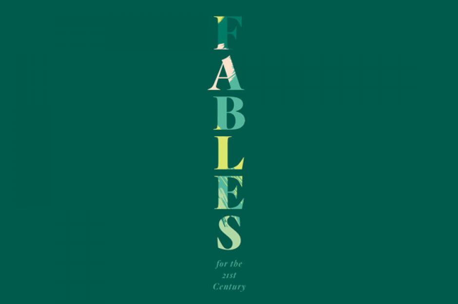 """Fables"" written in a green camouflage in a top-to-bottom vertical orientation."
