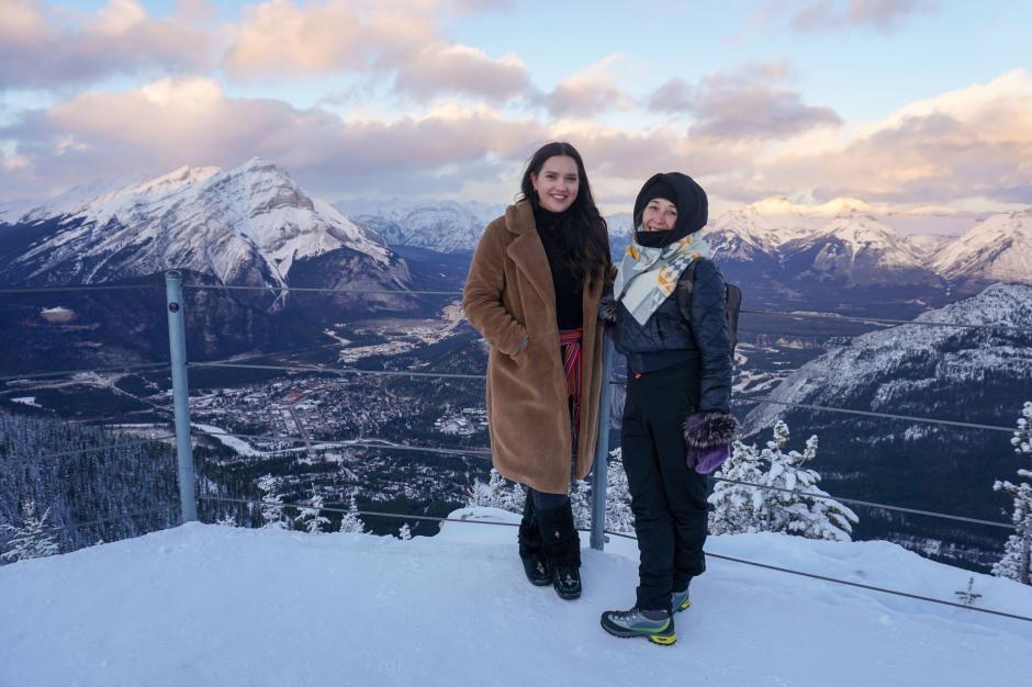 Julie Lumsden and Renetta Arluk on top of Sulphur Mountain