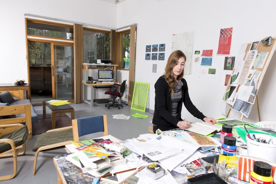 Artist Erica van Loom inside The Thom Studio