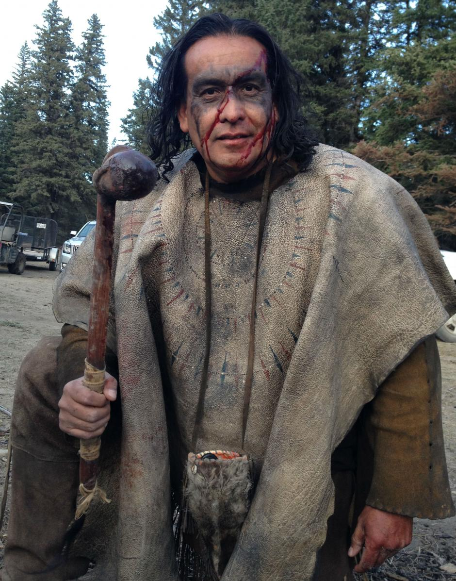 Craig Falcon in costume on the set of The Revenant