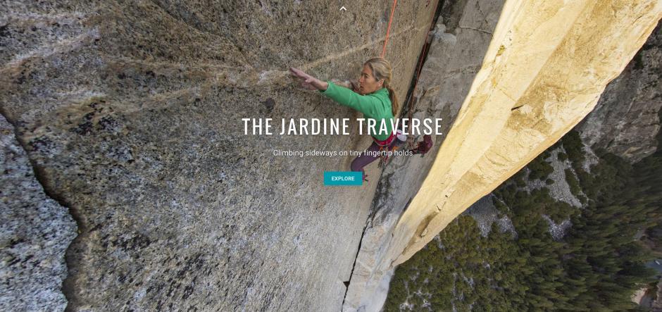 Lynn Hill moves over the Jardine Transverse on El Capitan
