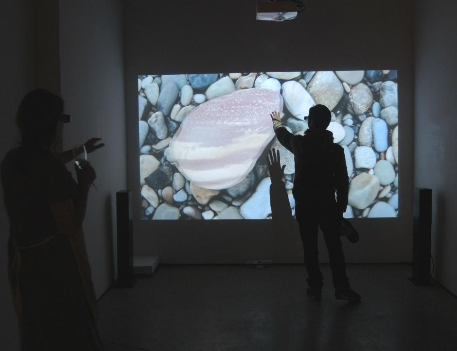 "Viewers interact with Marten Berkman's piece ""Hart to Heart"""